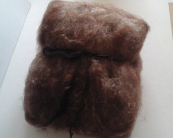 CARDED BATT Alpaca Shetland blend 100g Brown