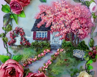 """Embroidered picture """"Unforgettable fable """",  Silk ribbon embroidery 3D effect,silk ribbon embroidery"""