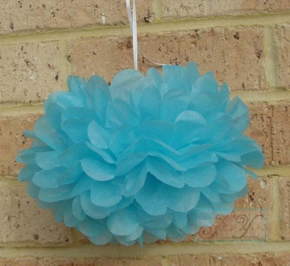 6x Mix-Size Aqua Blue Tissue Paper Pom Pom | Wedding Baby Shower Party Engagement Bridal Shower Hanging Decoration
