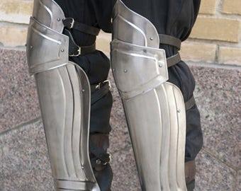 "Larp, fantasy, Elf, medieval, steel armour: greaves ""Titan"" (two units)"