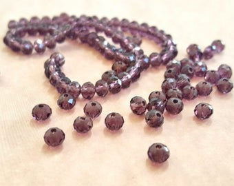 16 Inch Strand of Teeny Tiny Purple Faceted Crystal Beads.  3 X 4mm Rondelle Beads. Over 100 Beads.  Very Glitzy and Glam!!