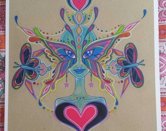 Butterfly Being Rainbow Warrior Watercolor Visionary Art Print