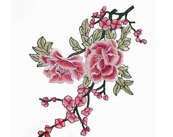 Sewing Pink Roses Embroidered Flowers Appliques Badges, Fashion Crafts Supplies