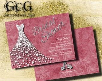 Wedding Gown Invitation, Bridal Shower Invitation,Wedding dress invitation, Bridal Shower invite, Diamond Invitation, printable invitation