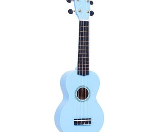 Ukulele, Painted Ukulele, Light Blue Ukulele, Mandala Ukulele, Decorated Soprano Ukulele, ukulele instrument, ukelele, ukalele
