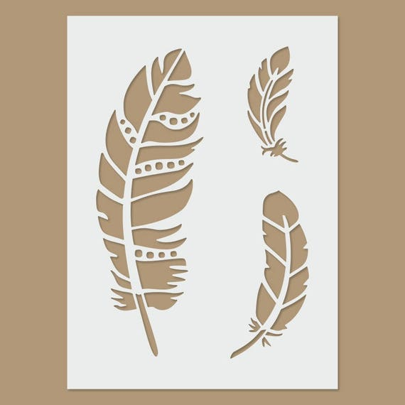 Bohemian Feather Wall Stencil Reusable Stencils For Home: Feather Stencil