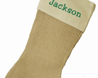 PERSONALIZED Burlap and cotton canvas cuff - CHRISTMAS STOCKING - Monogramed - Machine Embroidered