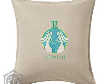 Cushion cover Gemini astrology zodiac sign May 22nd - June 21st embroidered esoteric