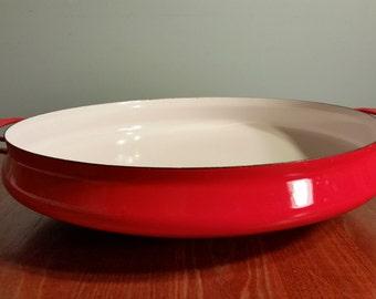 Large Dansk Red Kobenstyle Paella Pan | Mid Century Modern | Jens Quistgaard | Made in France