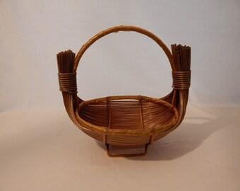 Vintage Reed Boat Basket/Gathering Basket
