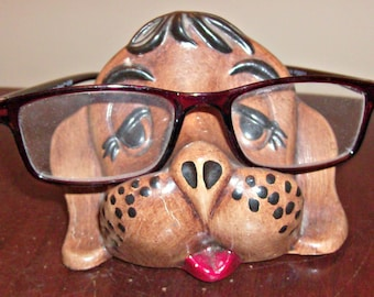 Vintage AYNEL Pottery Ceramic Puppy Dog Eye Glass Rest/Holder
