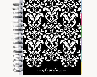 Monthly PlanBook Planner – Personalized | Monthly Calendar | Notebook | To Do List | Bound | Family | Academic | Dotted Damask