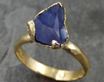 Partially faceted Sapphire Solitaire 18k Gold Engagement Ring Wedding Ring byangeline Custom One Of a Kind blue Gemstone 0486