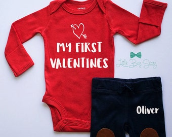 Boys Valentines Day Personalized Outfit, Valentines Day, My First Valentines Day, Valentines Gift, Newborn Gift, Baby Outfit, Boys Clothes
