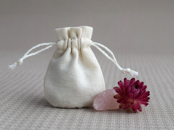Small Wedding Gift Bags: Blank Mini Jewelry Bag Ivory Cotton Wedding Gift Bags