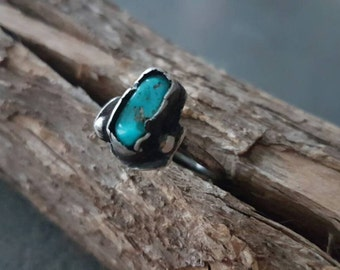 Natural Kingman Turquoise Ring/Handmade/Sterling Silver/Metal Smith/Rustic/One Of A Kind/Primitive/Organic Jewelry