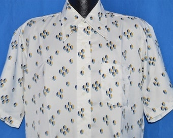 70s Campus New Breed White Geometric Disco Shirt Large