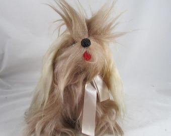 Rushton Plush Yorkie? Pekingese? Dog Pooch Toy with Bow Vintage Tagged Stuffed Animal