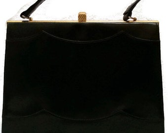 50s black leather trapeze handbag with scallop detail, suede lining, vintage 50s bag