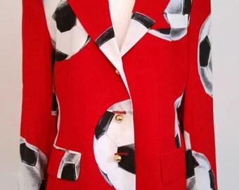 Moschino jacket, vintage moschino jacket, red jacket, designer couture, football jacket, trompe oleil jacket size medium uk 12 us 8 jacket