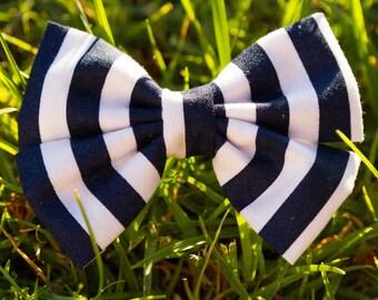 Dark Blue Stripe Bow & Bow Tie