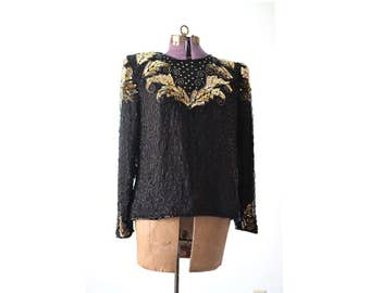 Sequin Top, Beaded Top, Laurence Kazar Top, 1980s Top, 80s Top, Trophy Top, Petite Large Top, Black and Gold Top, Vintage Top