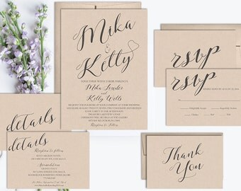 Rustic Wedding Invitation, Kraft Wedding Invitation Printable, Vintage Wedding Invitation, Wedding Invitation, Rustic Invite Set, digital