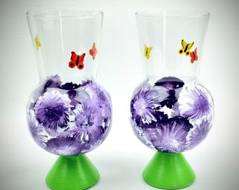 Hand painted drinking glass, hurricane glass, snifter, purple flower glass, unique glasses, fun drinking glass, butterfly glass, unique gift