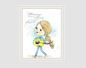 Song quote, Guitar, Girl, musician, Song in your Heart, Song Lover, Childrens wall art, Tween Art, Original Painting, print, country singer