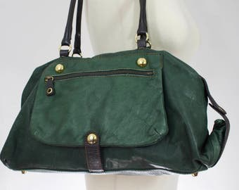 Vintage 1990s Green Italian leather leather Shoulderbag/ leather handbag/ green leather purse/ made in Italy