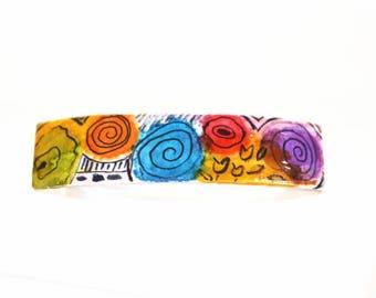 Unique Hair Clip, Handpainted Clip, Colorful Barrette, Artisan Barrette, Hair Clip Barrette, Museum Shop, Womans Hair Clip, Girls Barrettes