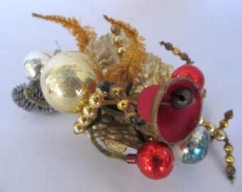 Vintage Antique Mercury Glass Christmas Corsage Ornament