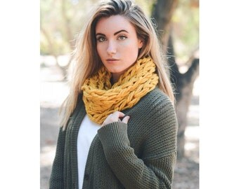 Mustard Yellow Knit Scarf, Braided Snood, Knitted Infinity Scarf, Womens Scarves, For Her, Winter Scarf, Christmas Gift, For Girlfriend
