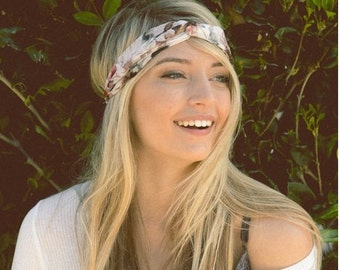 white floral headband, running headband, workout headband, turban headband, women headband, adult headband, Christmas gifts, Gift For Her