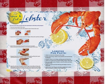 How to Eat Lobster Placemats Directions disposable paper place mats clambakes beach wedding rehearsal dinner 50 piece