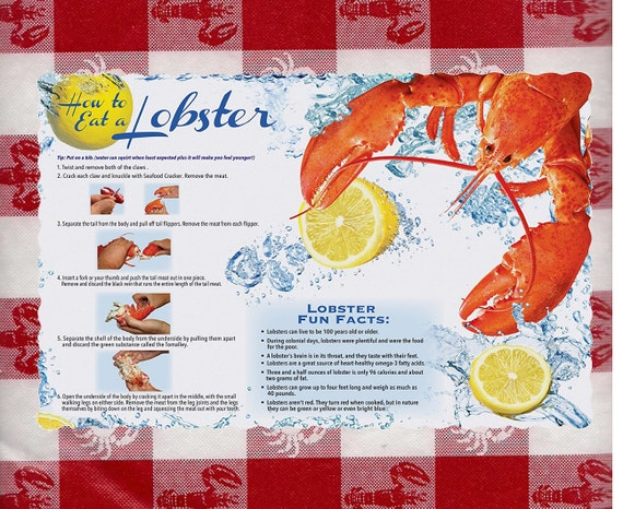 How To Eat Lobster Placemats Directions Disposable Paper Place