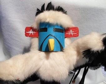 """Vintage M. Begay Signed Hopi Eagle Dancer Kachina, 15"""" Tall, c. 1980"""