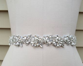 SALE - Wedding Belt, Bridal Belt, Sash Belt, Crystal Rhinestone Sash - Style B7235