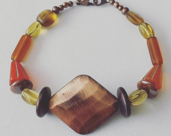 Chic Copper Statement Beaded Bracelet with Yellow and Orange Glass Bead Accents