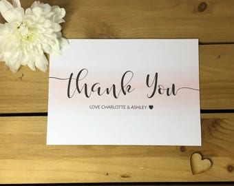 Watercolour Swash Pink Wedding Thank You Note Card Packs, Thank You Cards
