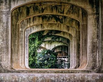 Bridge Photograph, Under the Bridge Fine Art Print, Architectural Art, Bridge Architecture Fine Art Print or Canvas Wrap