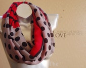 Gift for her! 100% Wool infinity scarf,cute Red and pink print scarf, gift for wife.handmade wool scarf,Modern Wool scarf