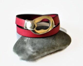Fuchsia leather bracelet, double wrap bracelet, natural leather jewelry, Pink bracelet, beach jewelry, boho bracelet, gipsy jewelry