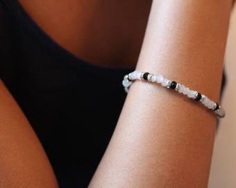 Dainty Crystal Bracelet, Thin Beaded Bracelet, Black Beaded Bracelet, Light Gray Bracelet, Dainty Beaded Bracelet, Gray And Black