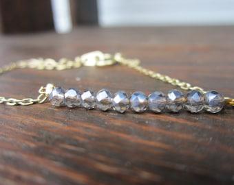 Delicate Beaded Gold Bracelet: Gray