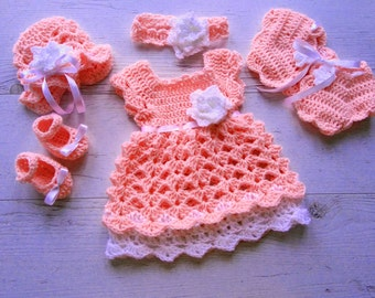 Newborn Take Home Outfit Baby Girl Coming Home Outfit in Peach Baby Shower Gift, Bringing Baby Home Outfit