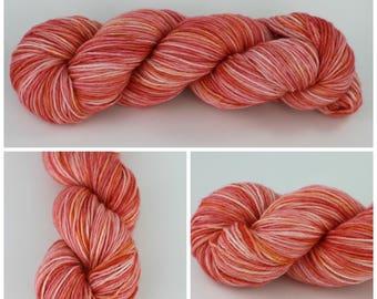 Sport Sock - Hand dyed yarn {Southern Peach} is sock yarn, knitting yarn, crochet yarn, peach yarn, orange yarn, pink yarn, blush