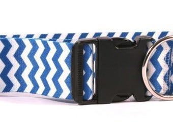 Chevron Blueberry 2 inch wide collar