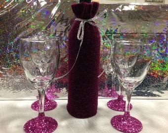 Fancy pink wine set