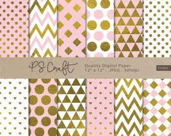 Pink and Gold Digital Papers, Pink and Gold Background, Golden Patterns, Triangle Chevron Polka Dots Stripes Gold Paper